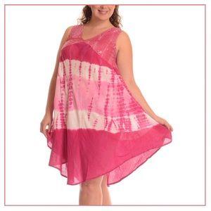 Plus Size Pink Tie Dye Embellished Shift Dress